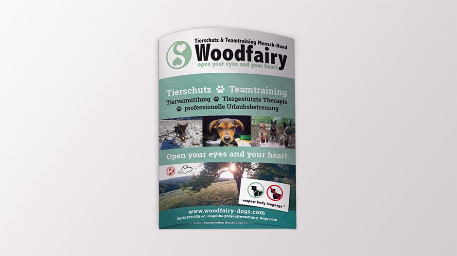 woodfairy tierschutz folder. printdesign.